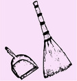 broom dustpan vector image vector image