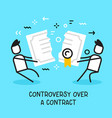 business of people pulling contract in different vector image vector image