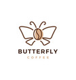 butterfly coffee bean logo icon vector image