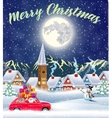 Christmas card design of car with tree on the top vector image vector image