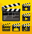 clapboard icon set vector image vector image