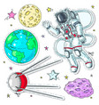 colorful icons stickers astronaut spaceman vector image vector image
