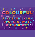 colourful bold alphabet urban old vivid color vector image