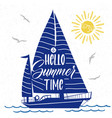 cute summer poster with boat silhouette vector image