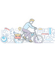cycling - colorful line design style vector image vector image