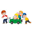 dad and his child playing with big toy car vector image vector image
