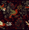 dark colorful seamless wallpaper with birds olive vector image