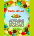 easter wishes paschal eggs poster template vector image vector image