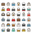 fashion bag filled outline icon in various style vector image vector image