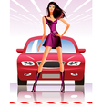 Fashion model and car vector image vector image