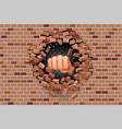 fist punches hole in wall power strength vector image vector image
