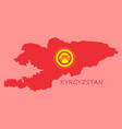 flag map of kyrgystan vector image vector image