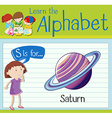 Flashcard letter S is for saturn vector image vector image