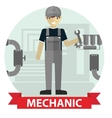 Flat modern design of Male mechanic cartoon vector image