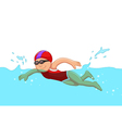 funny cartoon girl swimmer in the swimming pool vector image vector image