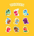 funny cartoon magic unicorns stickers set fashion vector image vector image