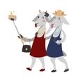 Goat girls couple friends portrait vector image