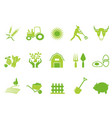 green color farm icon set vector image vector image