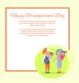 happy grandparents day senior couple with children vector image