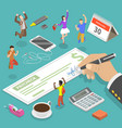 isometric flat concept salary and vector image vector image