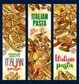 italian pasta sketch banners vector image vector image