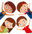 kids characters boys and girls set with happy vector image