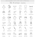 Kitchen ultra modern outline line icons for vector image