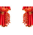lanterns and curtainfireworks for chinese holiday vector image vector image