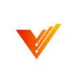 letter v technology company logo vector image