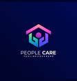 logo people care gradient line art style vector image