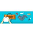 Man puts fitness stuff into sport bag banner vector image vector image