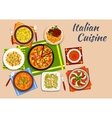 National italian cuisine menu dishes vector image vector image