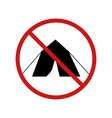 No tent camping forbidden sign on white vector image vector image