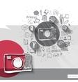 paper and hand drawn photo camera emblem vector image