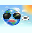 planet earth globe need help from global warming vector image