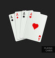 poker cards on dark background vector image vector image