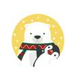 polar bear hug penguin vector image