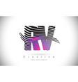 rv r v zebra texture letter logo design vector image vector image