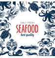 seafood poster turtle and shrimp crab vector image vector image