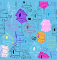 seamless pattern with colorfil birdhouse on blue vector image