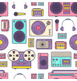 seamless pattern with retro analog music player vector image vector image