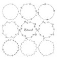 set botanical round frame hand drawn flowers vector image vector image