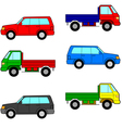 Set cars trucks and cars vector image
