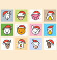 set of animal face with santa hat filled icon vector image