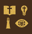 set of christian symbols from gold vector image vector image