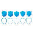 set of flat blue shields with contours isolated vector image