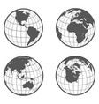 set of globes with different continents earth vector image vector image