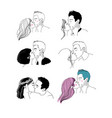 set with a couple kissing young man and woman vector image vector image