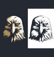 silhouette eagle head front isolated logo vector image vector image