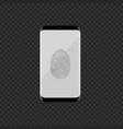 smartphone with fingerprint scan vector image vector image